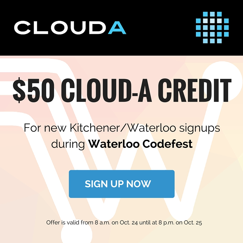 All new signups from the Kitchener-Waterloo are will receive $50 account credit during the hours of Codefest (3)