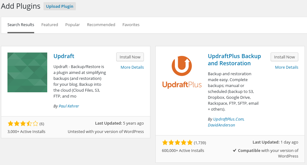 WordPress Plugins Updraft Search